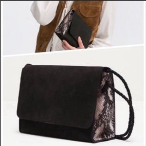 Zara Special Edition Black Suede Snakeskin Purse